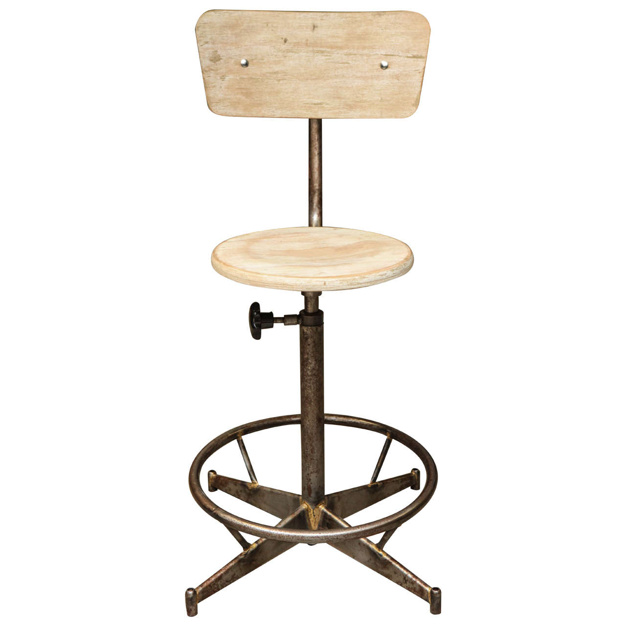Light Wood And Metal Adjustable Swivel High Chair