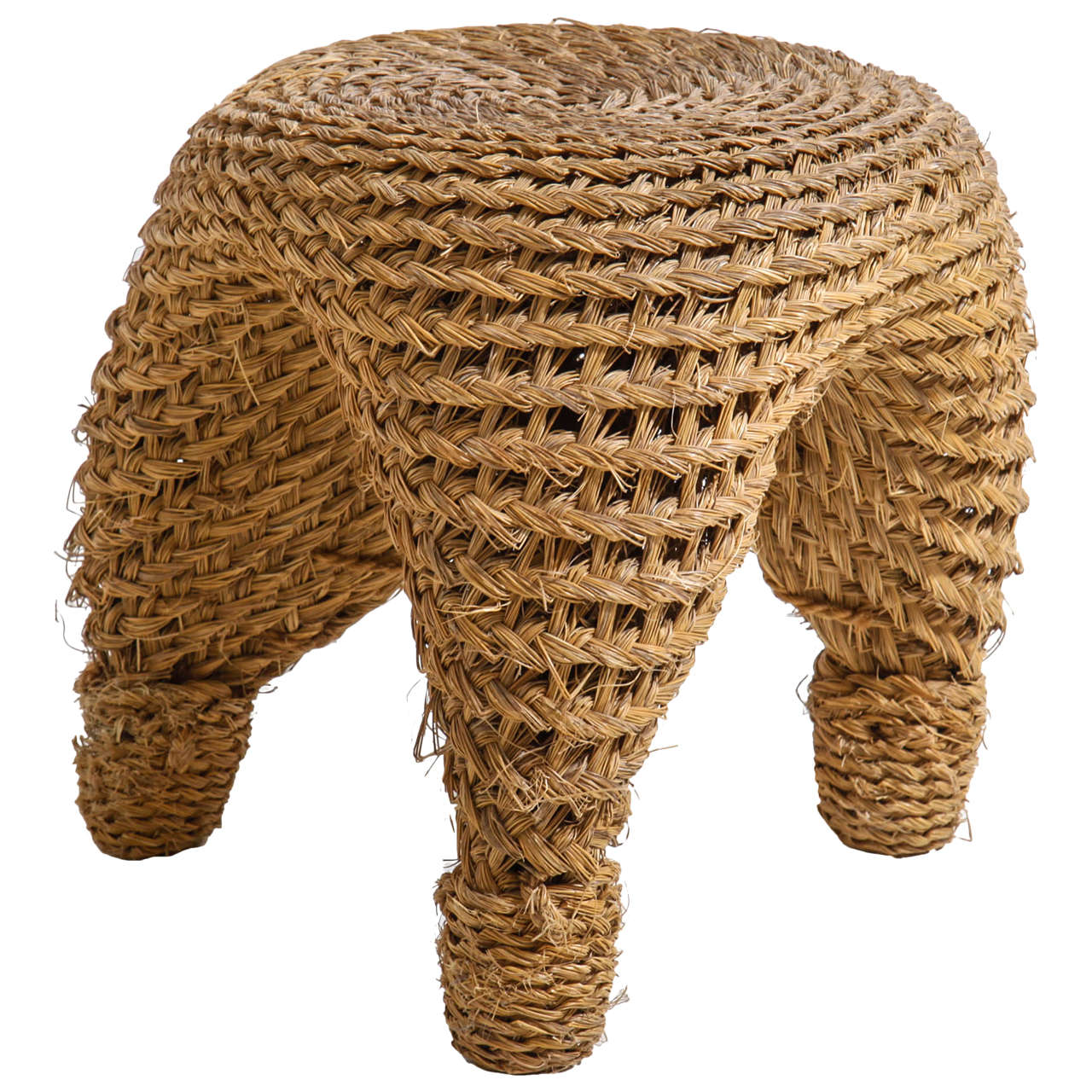 Stool In Wicker At 1stdibs