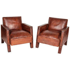Pair of Aged Brown Leather Art Deco Club Chairs