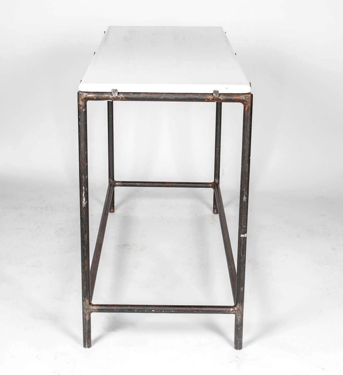 Industrial Cast Iron Console Table In Good Condition For Sale In New York, NY