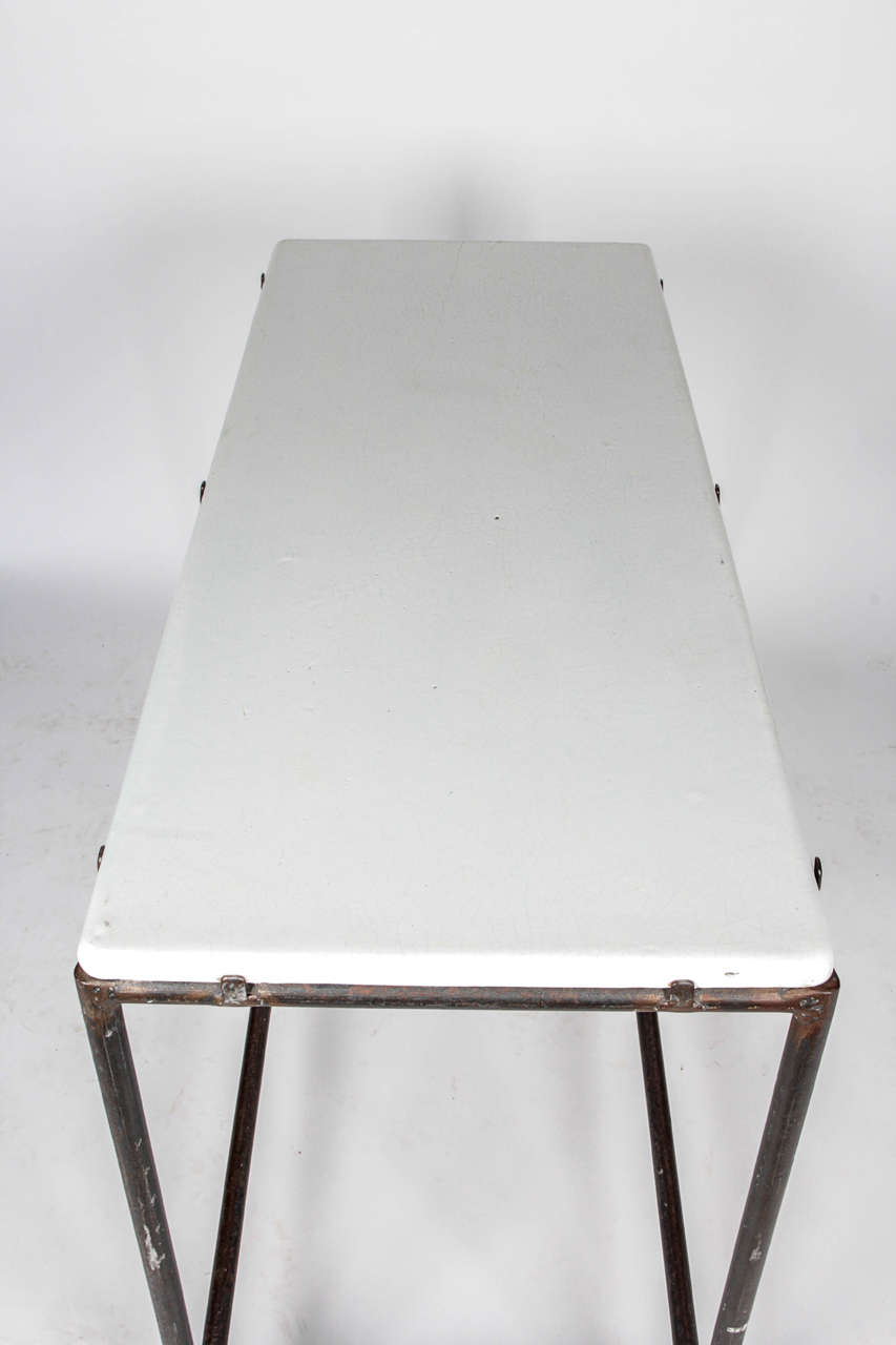 20th Century Industrial Cast Iron Console Table For Sale