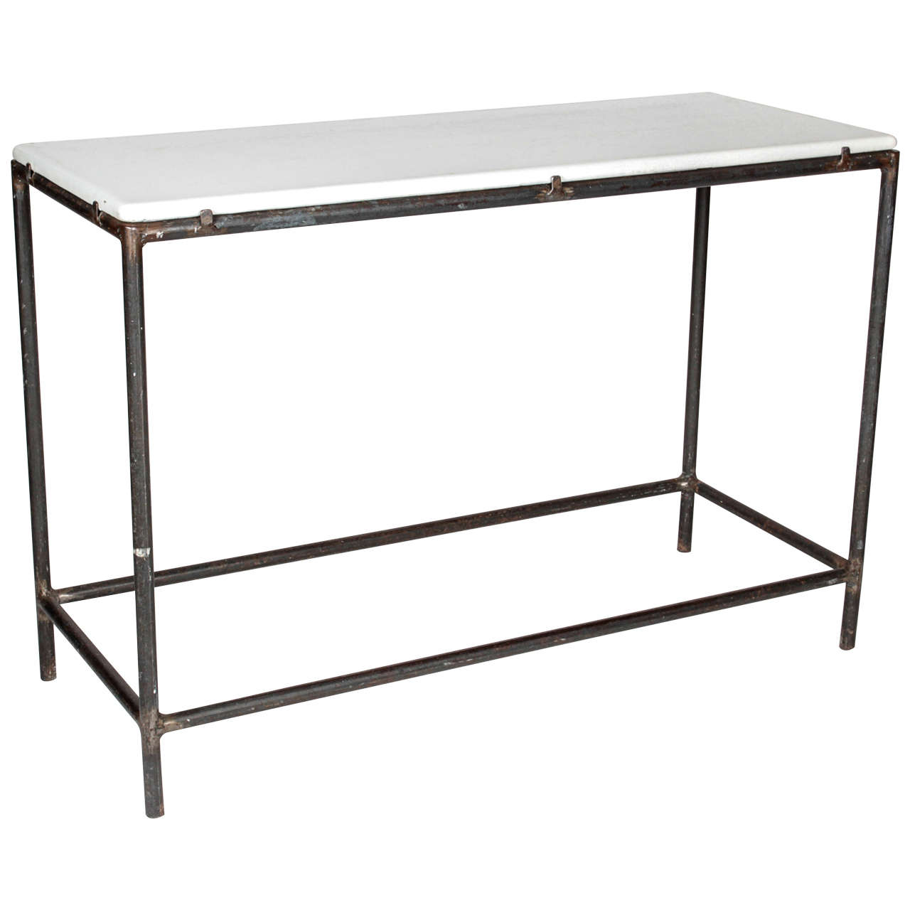 Industrial Cast Iron Console Table For Sale