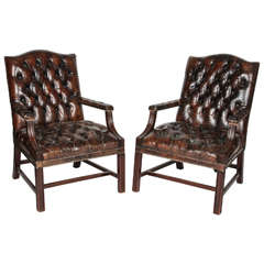 Pair of Brown English Tufted Leather Chesterfield Armchairs