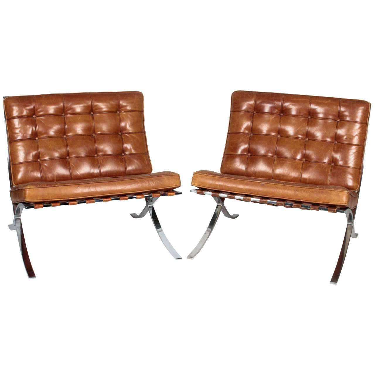 original barcelona chairs by mies van der rohe for knoll at 1stdibs
