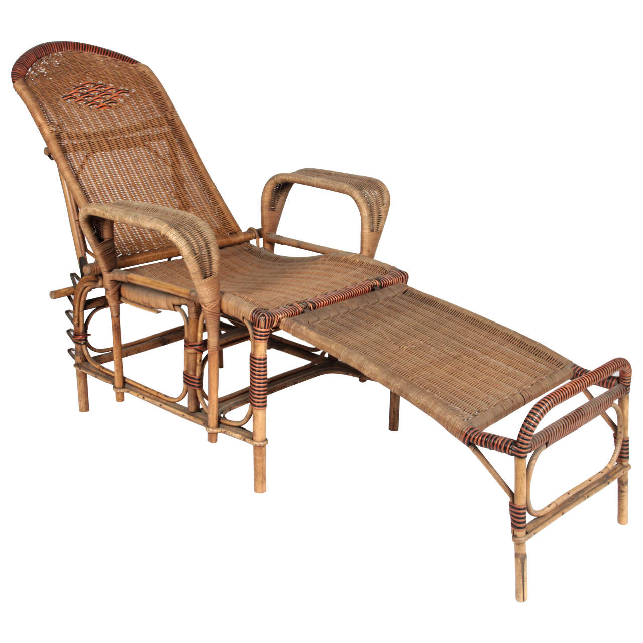 Genial Art Deco Reclining Wicker Lounge Chair With Detachable Foot Rest For Sale