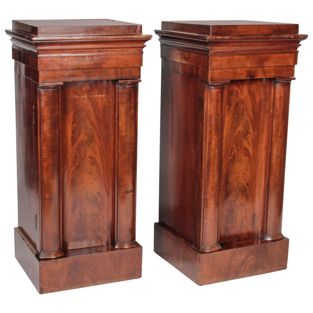 Pair of Mahogany Pedestal Cabinets