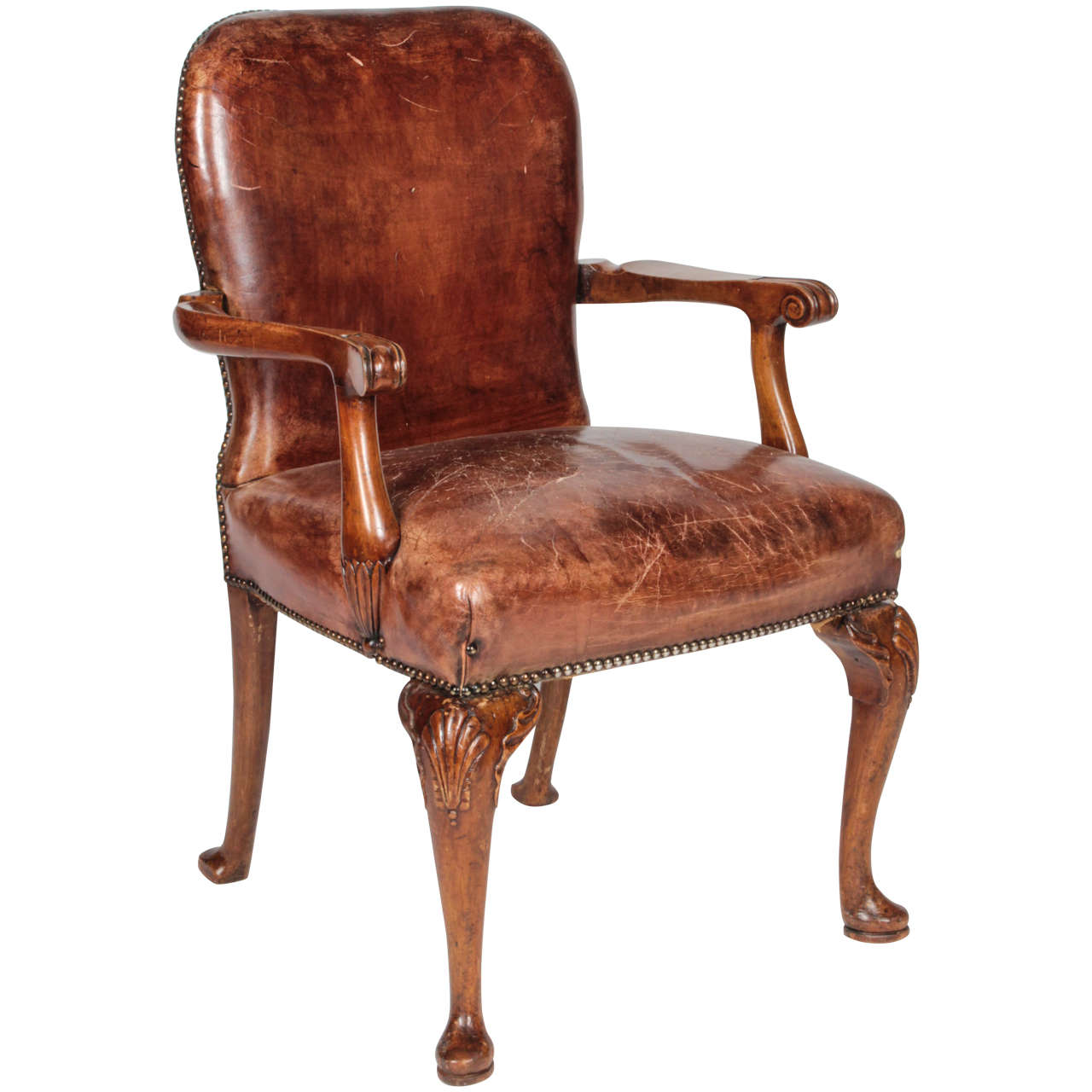 Amazing Queen Anne Style Distressed Leather Arm Chair For Sale
