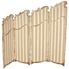 Victorian Collapsible Four-Panel Wood and Upholstery Screen