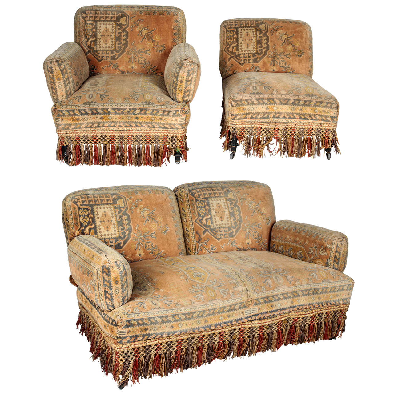 19th Century Au Bon Marché Moorish Tapestry Sofa And Chairs Set 1