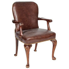 Queen Anne Style Leather Arm Chair