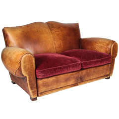 20th c. French Mustache-back Leather and Chenille Loveseat