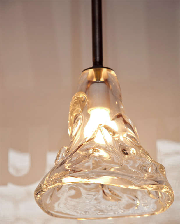 industrial hanging pendant lights with hand blown glass at 1stdibs