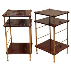 Pair of Stylish 40's Era French Walnut & Bronze End Tables