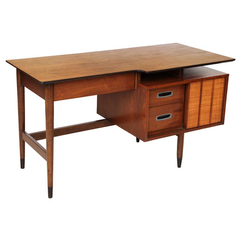 Smart Mid Century Walnut Floating Top Desk For
