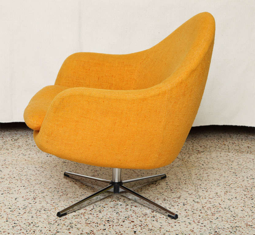 Swedish Fab Overman Swivel Egg Chair Sweden For Sale