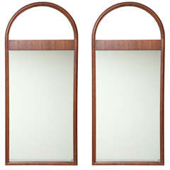 PAIR Architectural Mahogany Arch Top Pier Mirrors
