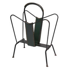 Jacques Adnet Leather Magazine Stand