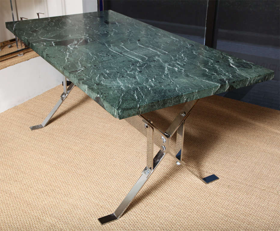 Designed by Alessandro Albrizzi, this fantastic writing or library table comes with 1 3/4 a thick rare green marble-top (serpentina verde).