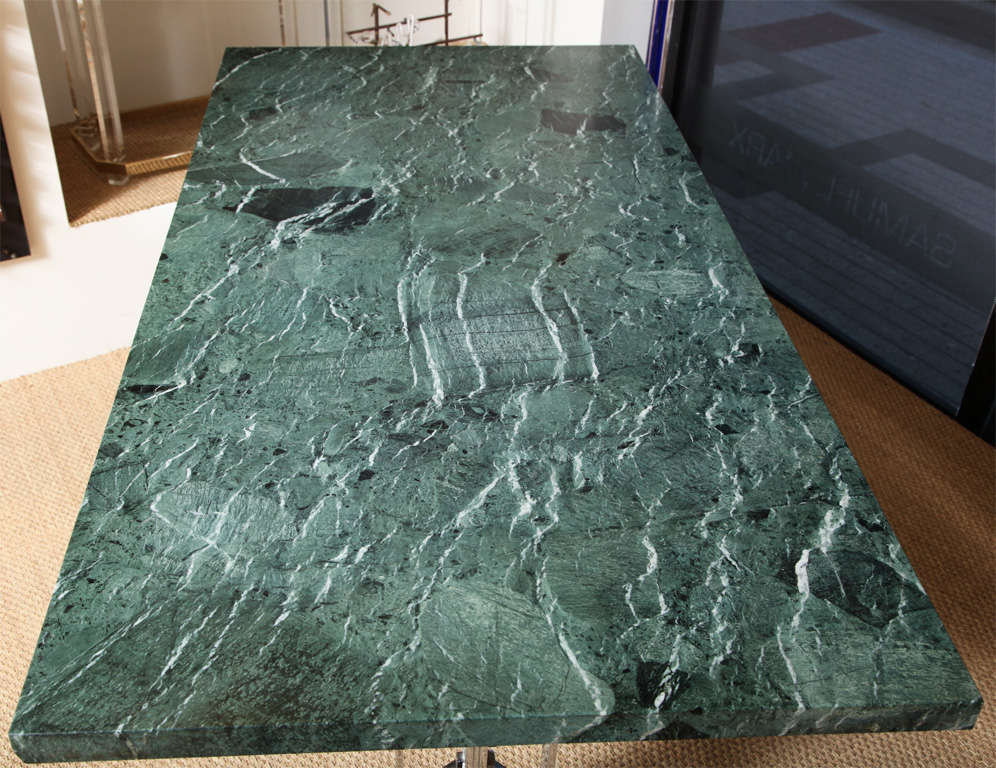 Italian Albrizzi Architectural Steel Base Table with Serpentina Verde Marble For Sale