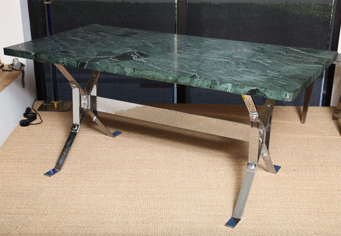 Albrizzi Architectural Steel Base Table with Serpentina Verde Marble For Sale 3