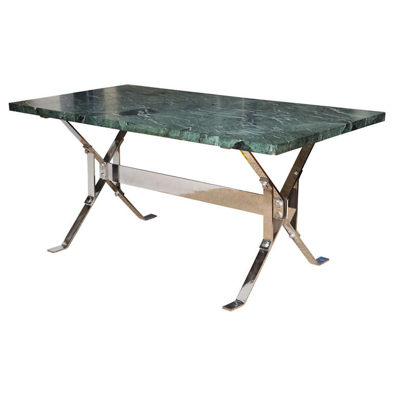 Architectural Steel Base Trestle Table With Serpentina Verde Marble Top For  Sale