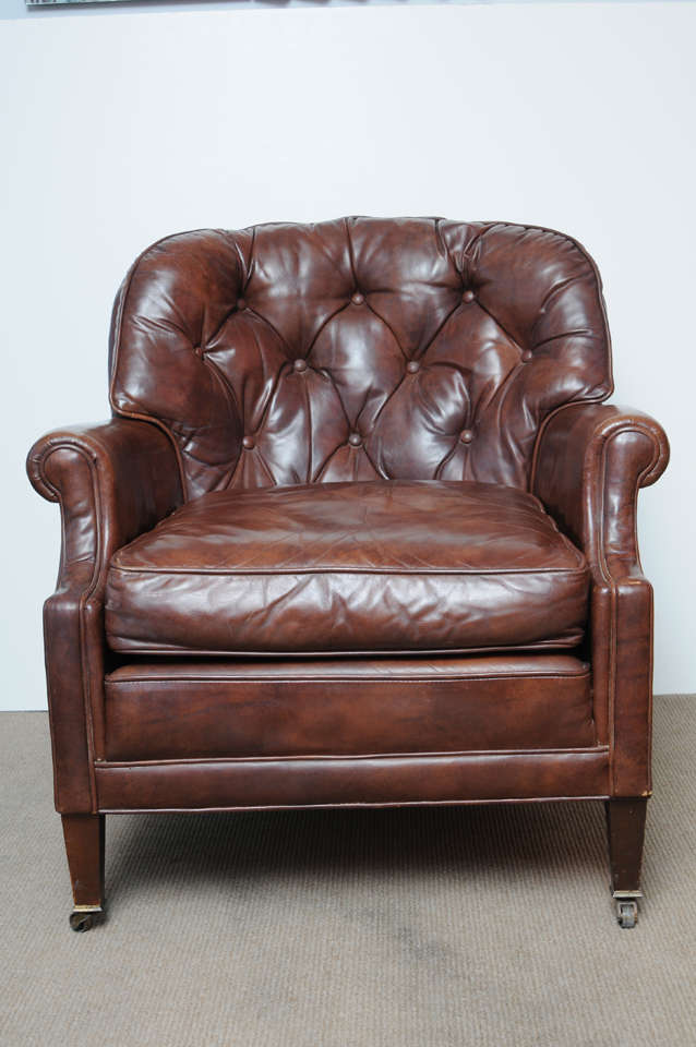 Elegant Vintage 1950s 60s Leather Club Chair At 1stdibs