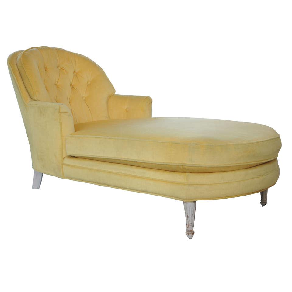 1960 S Glamour Yellow Velvet Chaise At 1stdibs