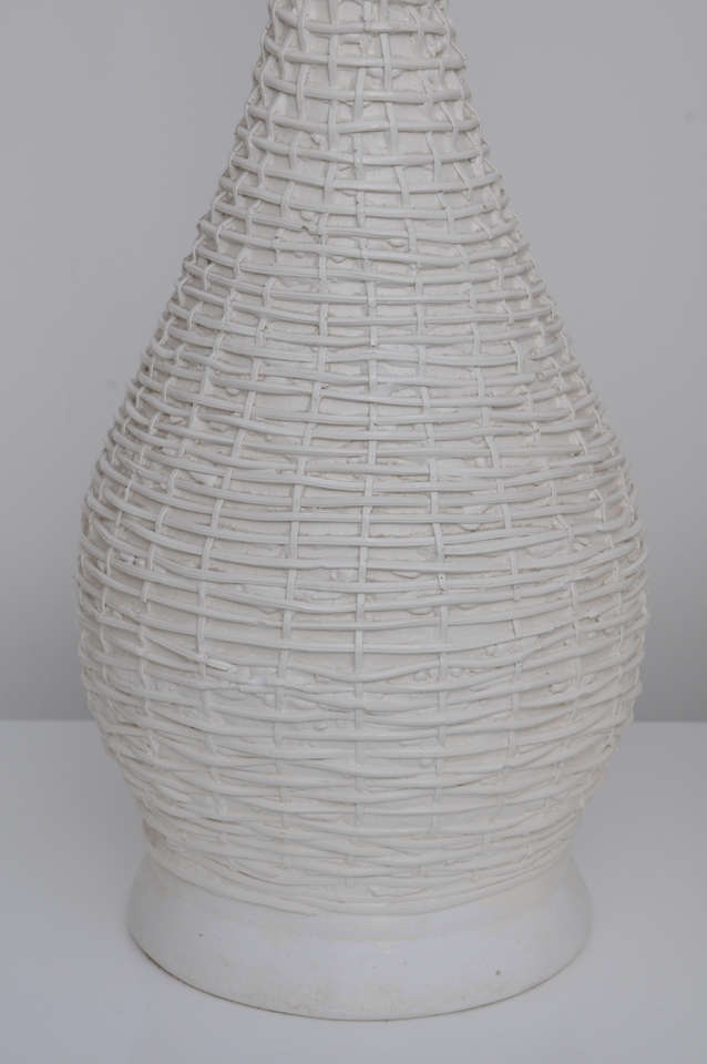 pair of 1950 u0026 39 s white woven rattan table lamps at 1stdibs