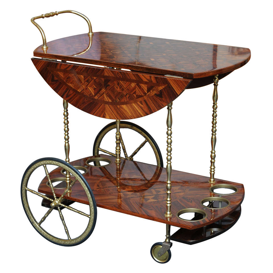 aldo tura rosewood parquetry trolley bar cart . aldo tura rosewood parquetry trolley bar cart at stdibs