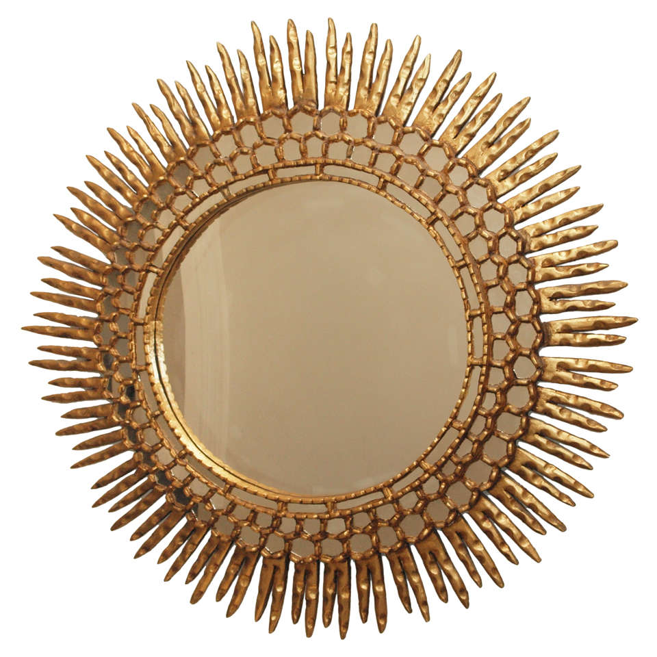 Large gilt sunburst mirror at 1stdibs for What is a gilt mirror
