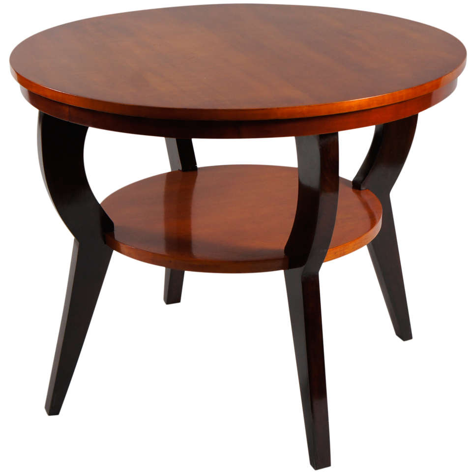 Deco Tiger Maple Side Table With Ebonized Legs 1