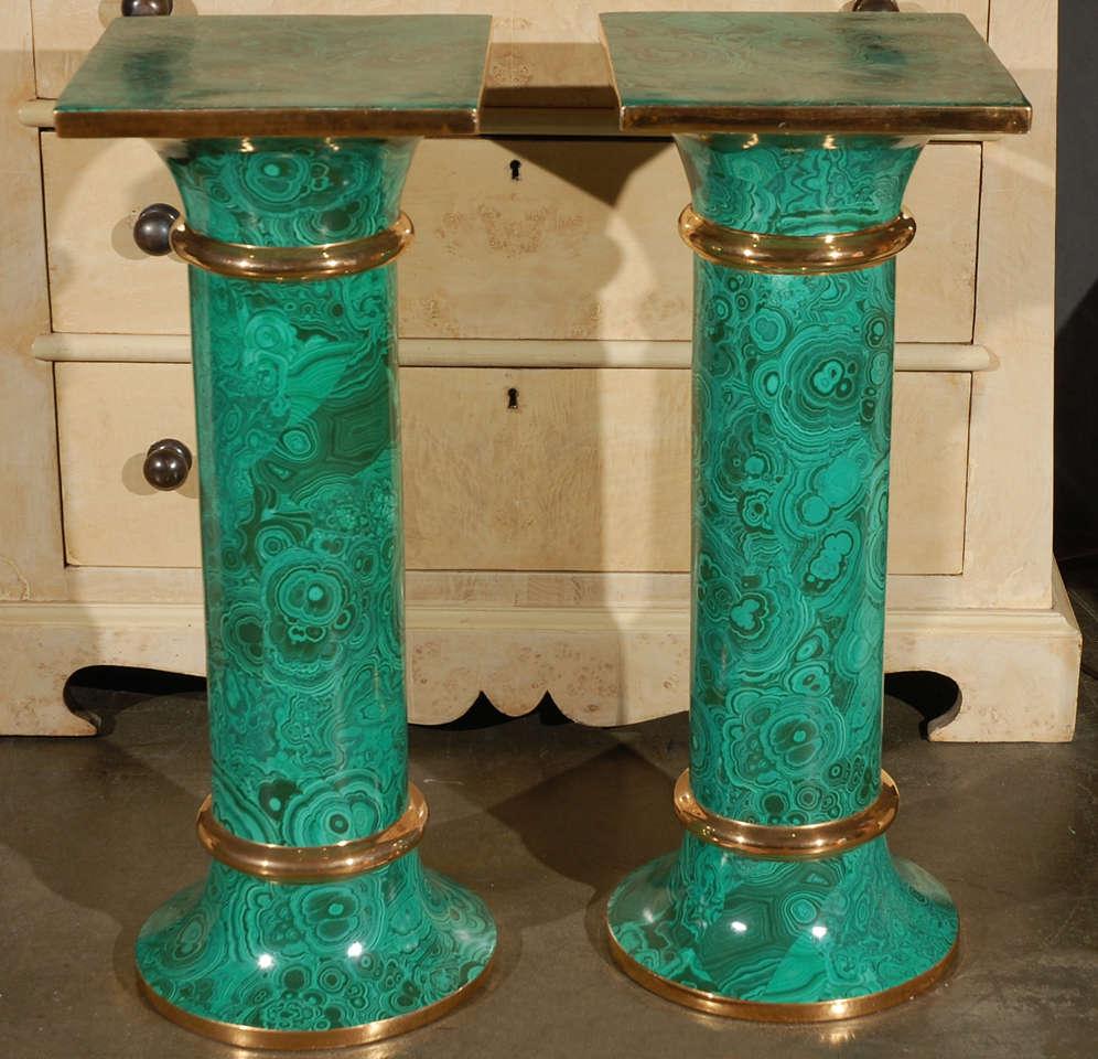 Pair Italian Faux Malachite Pedestal Columns At 1stdibs