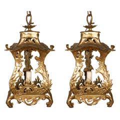 Pair of Venetian Style Tole Lantern Pendants