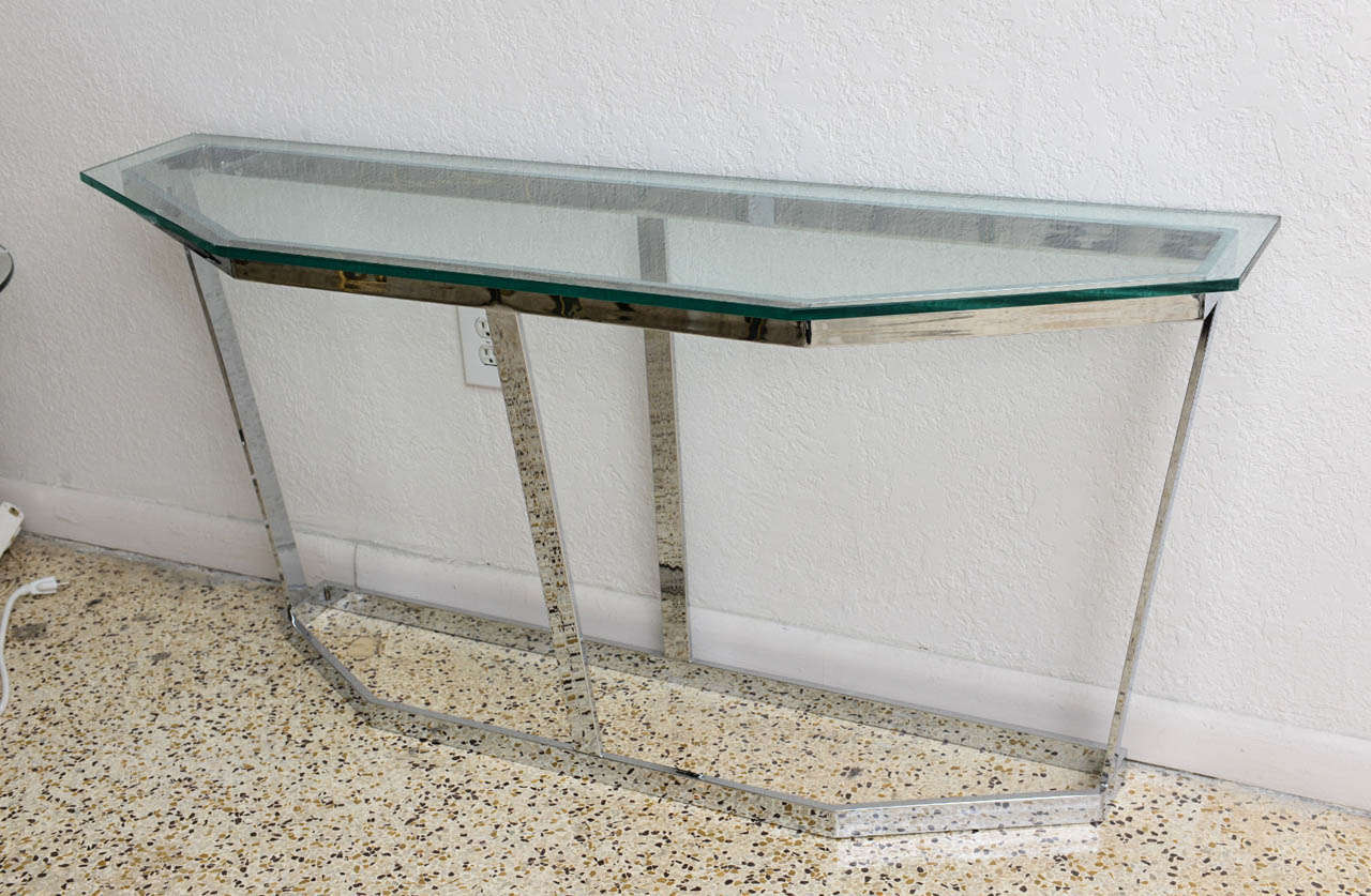 Bon This Handsome Polished Chrome And Glass Console Is By The Iconic  Mid Century Furniture Designer