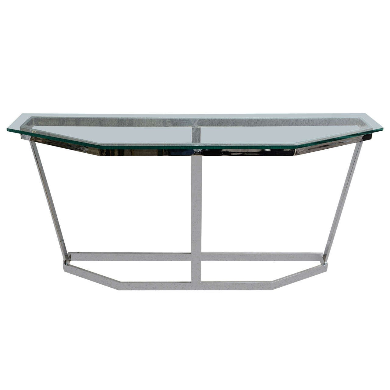 Mid Century Modern Polished Chrome & Glass Milo Baughman Console Table