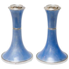 Pair of Sterling Silver & Guilloche Enamel Candlesticks by Charles Green & Co.