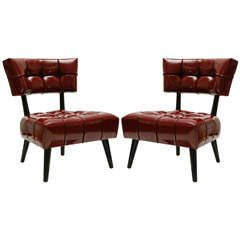 Pair of Biscuit-Tufted Hostess Chairs by William Haines