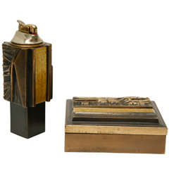 Enameled Bronze Table Lighter and Box by Del Campo
