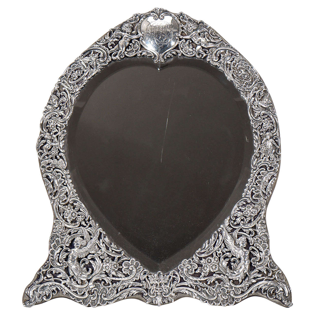 english 19th century sterling silver monumental frame with filigree decoration on velvet 1