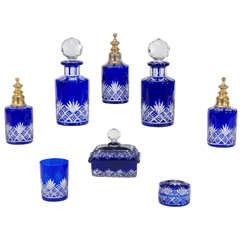 Fabulous Baccarat Cobalt Cut to Clear Crystal Eight Piece Dresser Set 19th Century