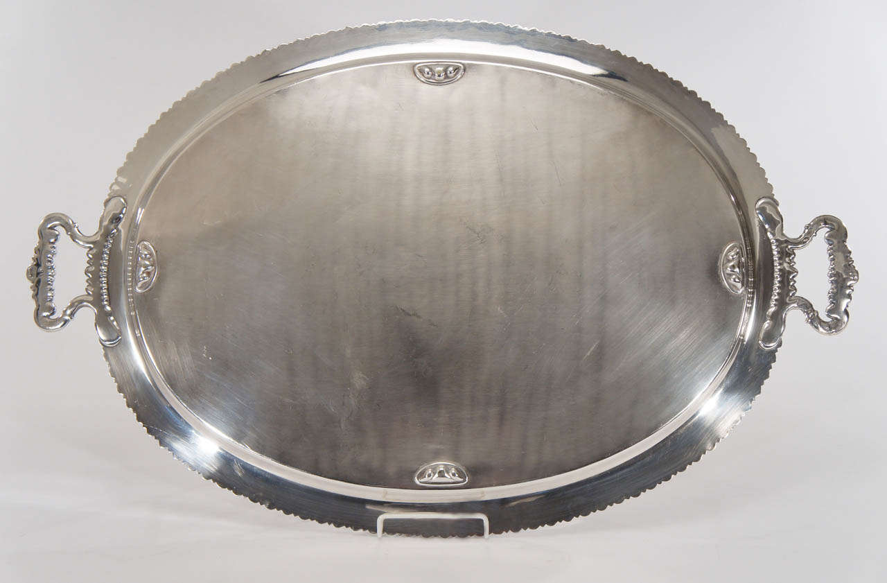 Extra Large Silver Over Copper Tray Egg And Dart Border