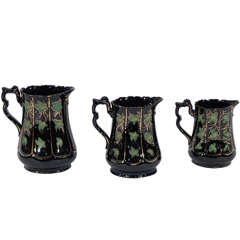 Three 18th Century Jackfield Pitchers with Hand-Painted Ivy and Gilt Decoration