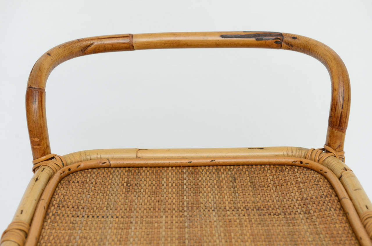 1960s Rolling Rattan And Cane Bar Cart At 1stdibs