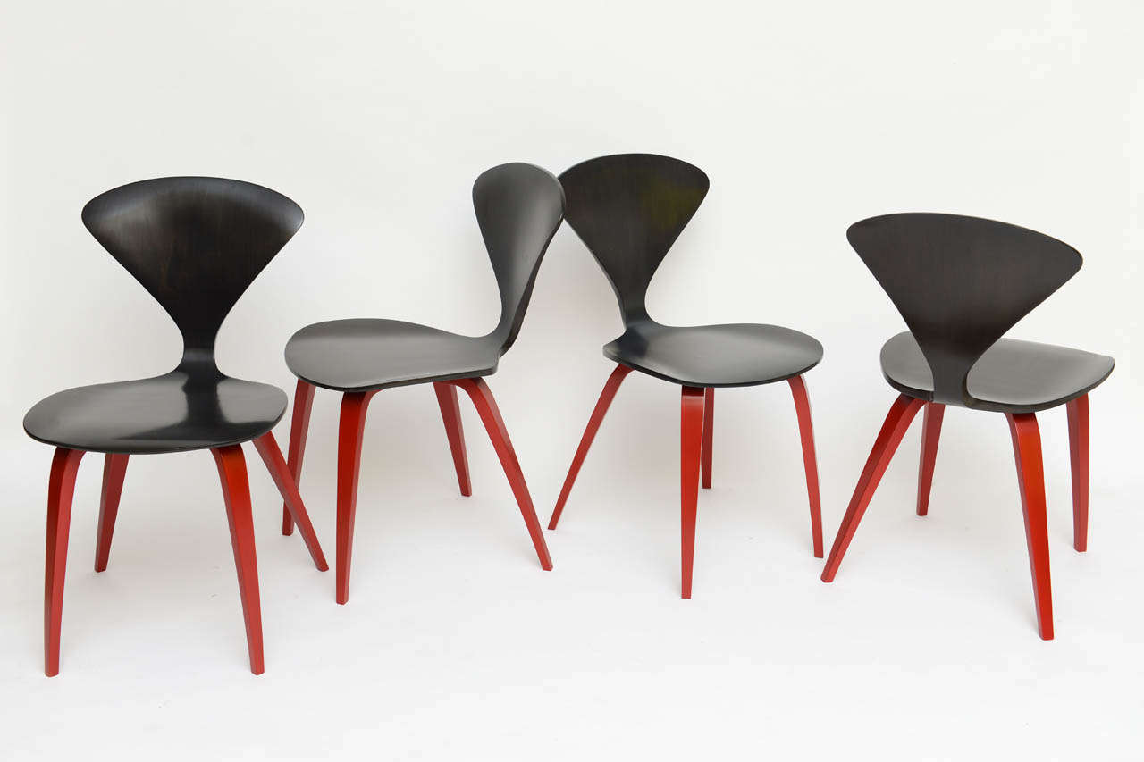 ebonized walnut cherner style chairs with chinese red legs 2
