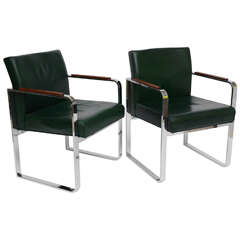 Pair of, 1940s Green Leather Chrome Streamline Modern Armchairs