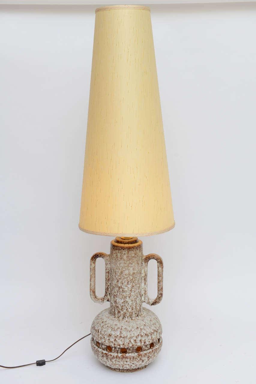 Monumental German Lava Glaze Pottery Table Floor Lamp at 1stdibs