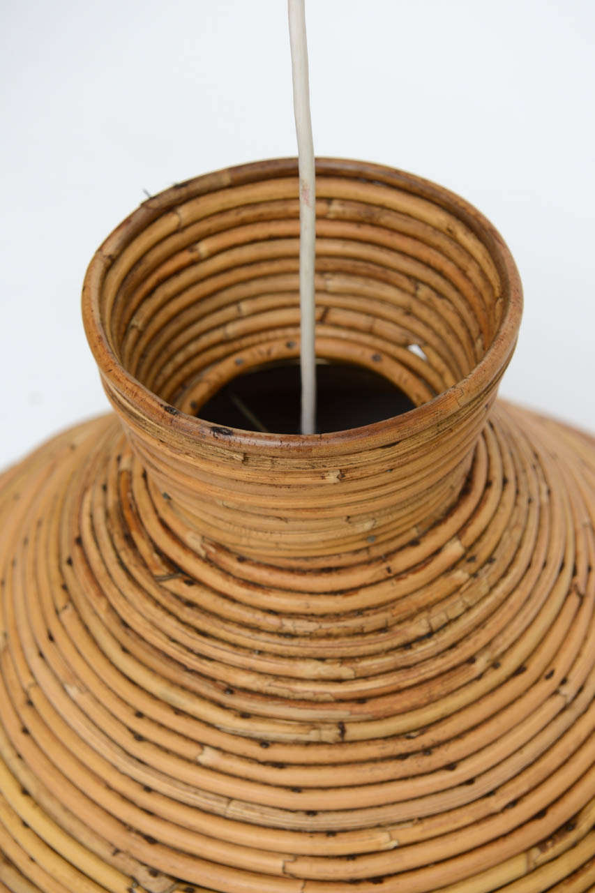 Large Scale Rattan Pendant Light- Flare Top at 1stdibs