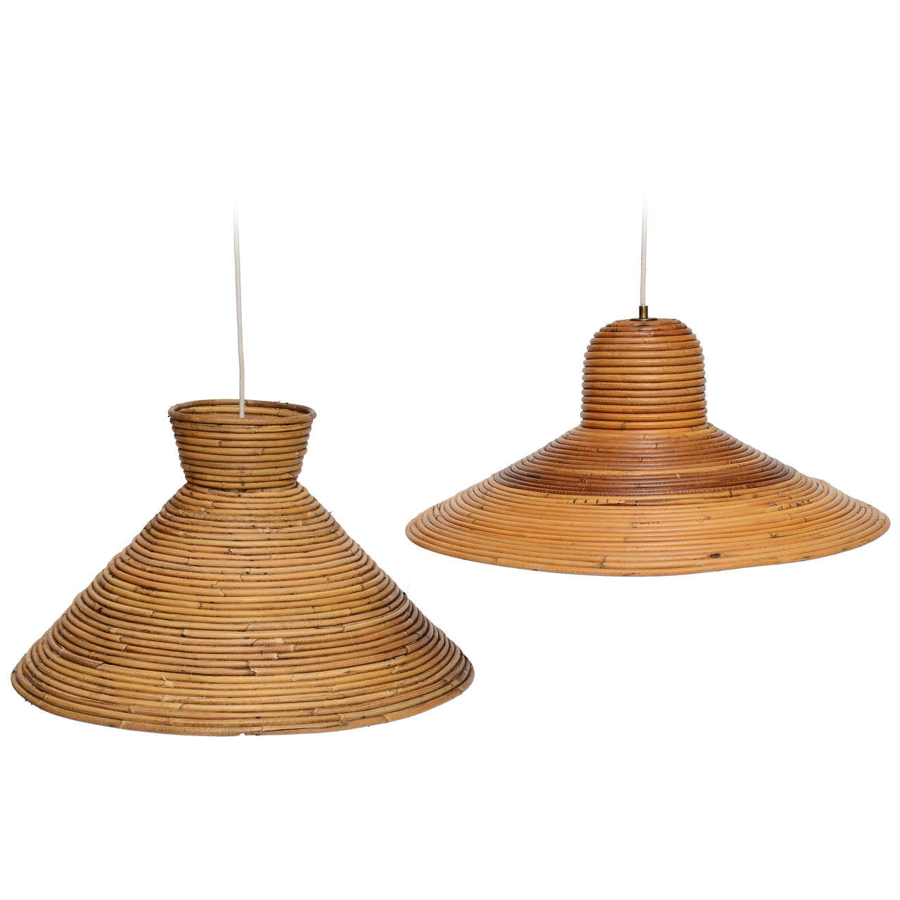 large scale rattan pendant light flare top at 1stdibs