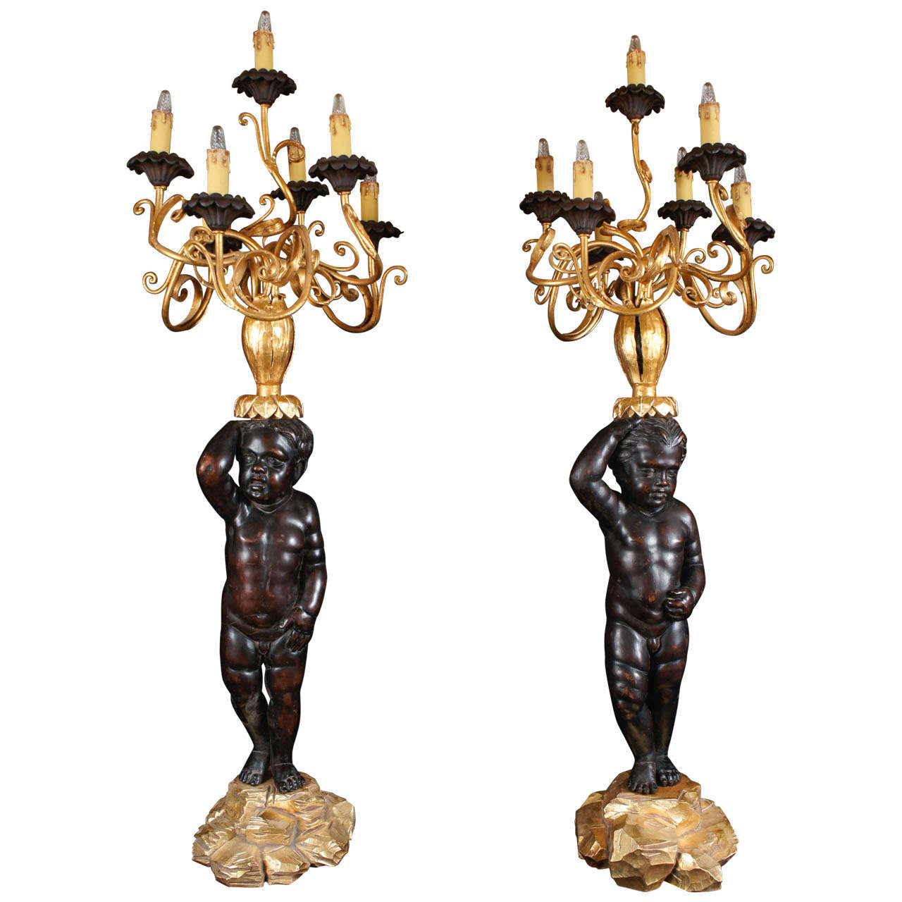 Pair of Large Carved and Gilded Wood Baroque Putti and Gilded Iron Candelabra