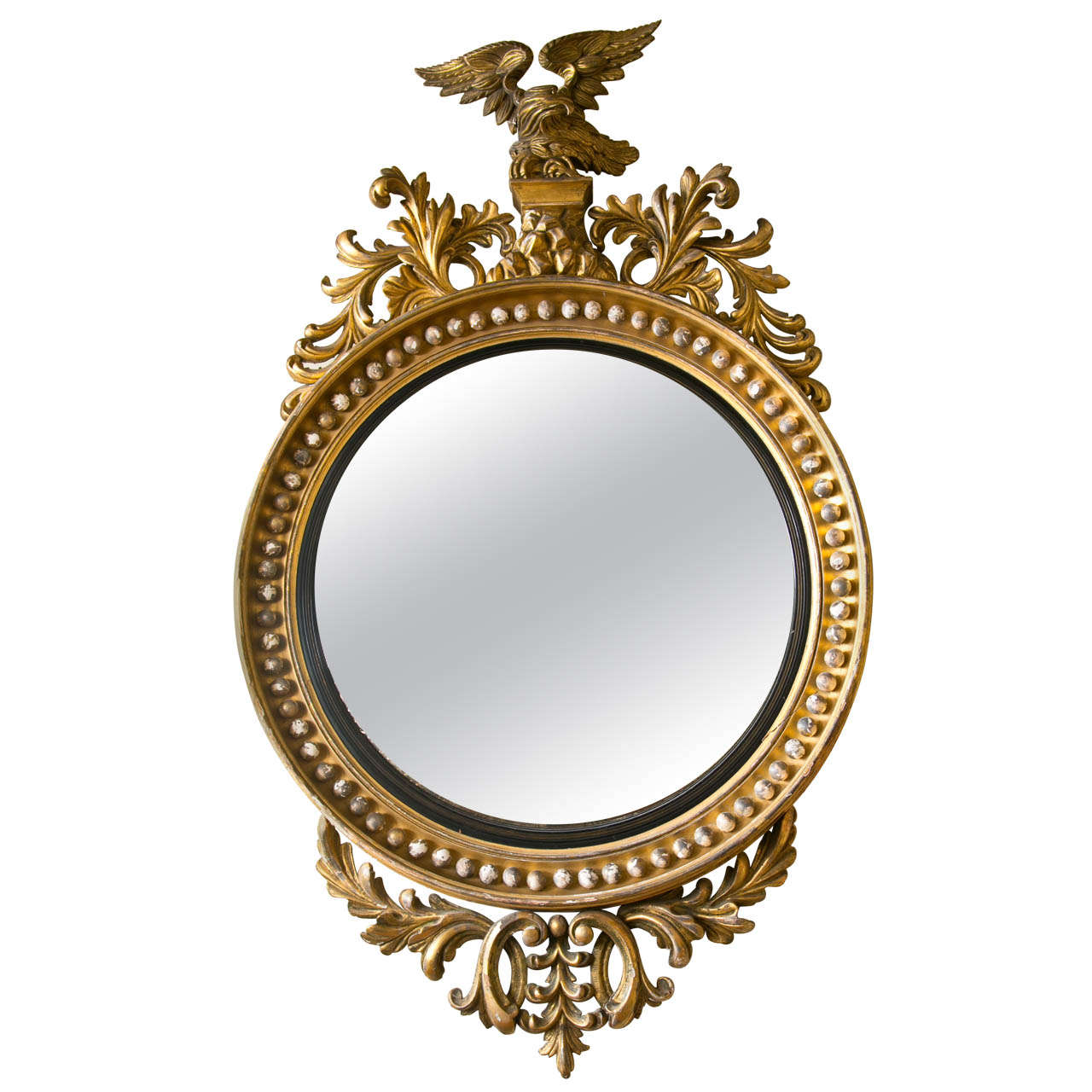 Very Large Giltwood Convex Mirror With Eagle Top At 1stdibs